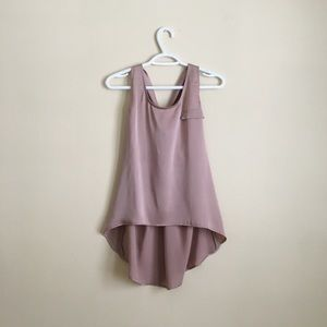 Tops - Sleeveless Silky Flowy Top Mauve High Low